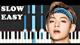 BTS V - Scenery (SLOW EASY PIANO TUTORIAL)