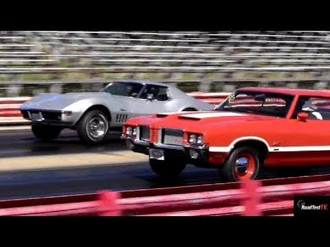Rare L88 427 Corvette Vs Olds 442 W30 - 1/4 Mile Drag Race - Old School - Road Test TV ®