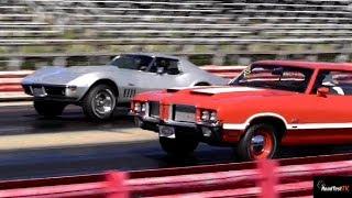 Rare L88 427 Corvette vs Olds 442 W30 - 1/4 Mile Drag Race - Old School - Road Test TV
