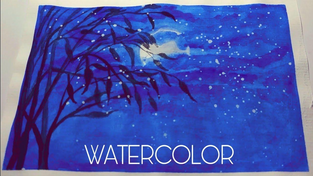 WATERCOLOR || Vẽ đêm trăng bằng màu nước đơn giản