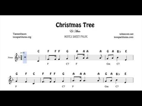 Tannenbaum Christmas Tree Easy Notes Sheet Music In F Violin Recorder Flute Oboe With Chords