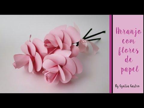 Arranjo De Flores De Papel Passo A Passo Com Molde Grátis