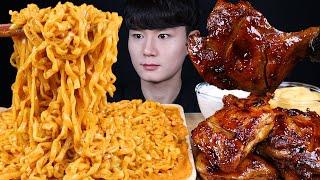 까르보 불닭볶음면 자메이카통다리 치킨 먹방ASMR MU…