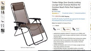 Timber Ridge Zero Gravity Locking Lounge Chair Oversize Recliner Review