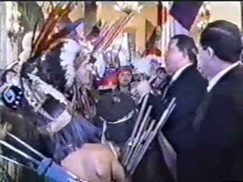 Indigenous Leaders Sharing the Sacred Pipe With President Hugo Chavez, Caracas, Venezuela
