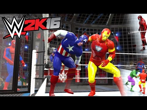 WWE 2K16 - Spiderman VS Carnage VS Hulk VS Captain America VS Iron Man VS Thor