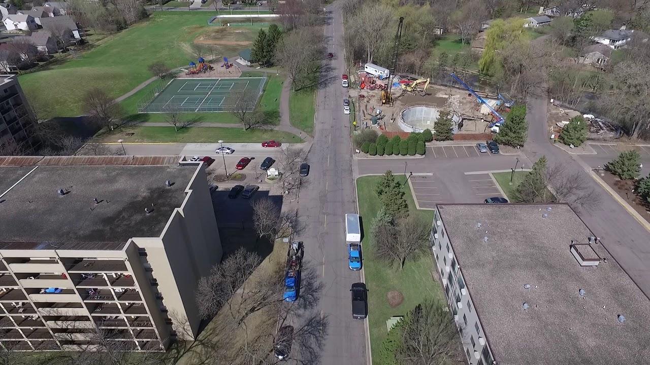 [April 3 2018] Drone Footage: Construction Blake Road HOPKINS & ST LOUIS  PARK MN