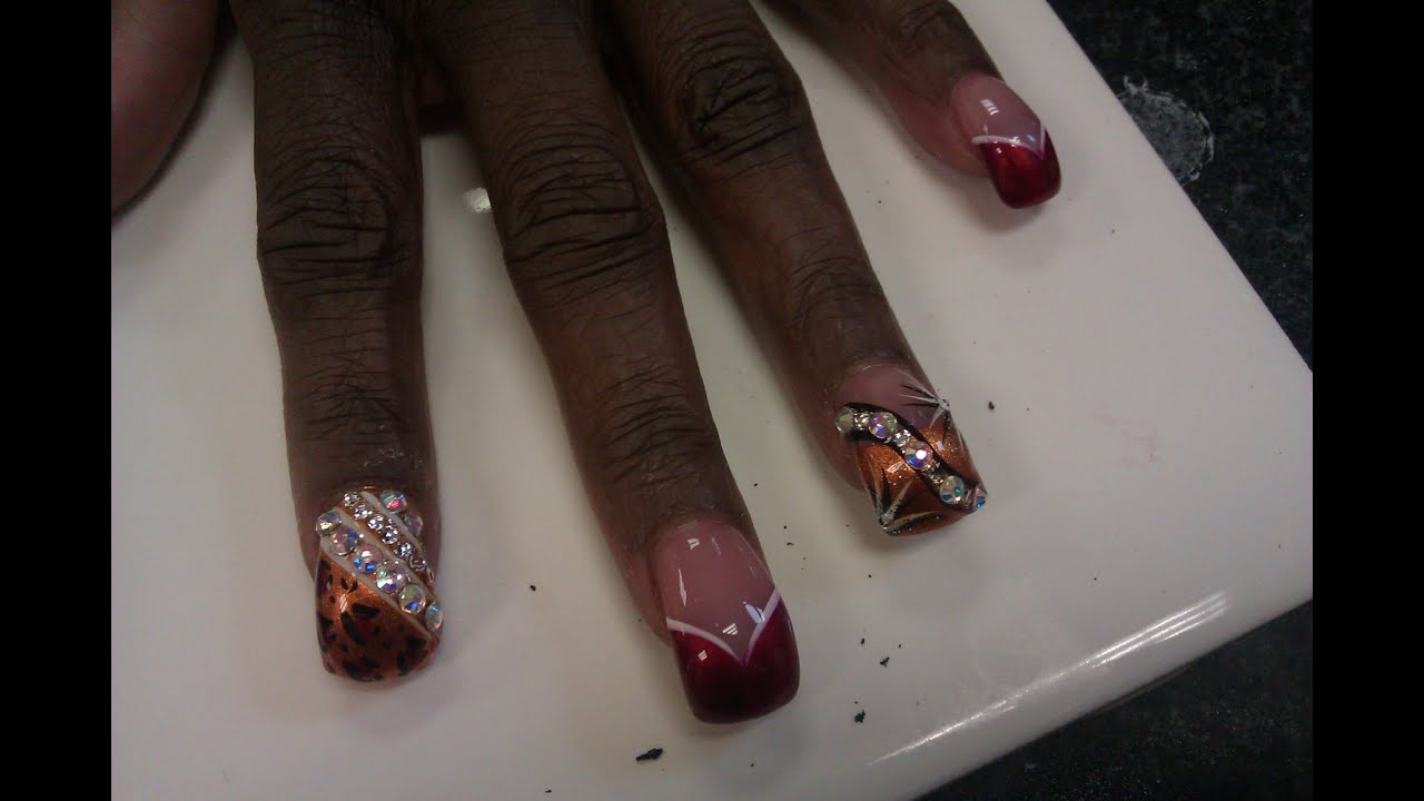 Curved Acrylic Nails with Red and Gold Nails Art Design - YouTube