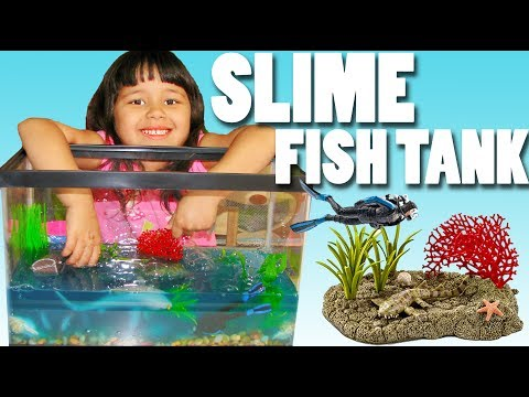 DIY How To Make Slime Fish Tank And Slime Ocean With Schleich Sea Animals Toys And Slime