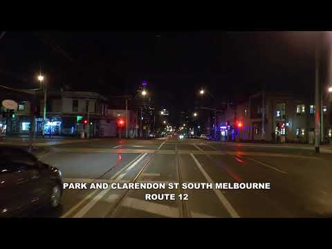 Melbourne Tram Drivers View Route 1 Night View Out of Service