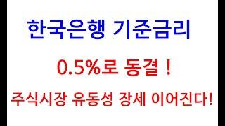 한국은행 기준금리 0.5%로 동결! 주식시장 유동성 장…
