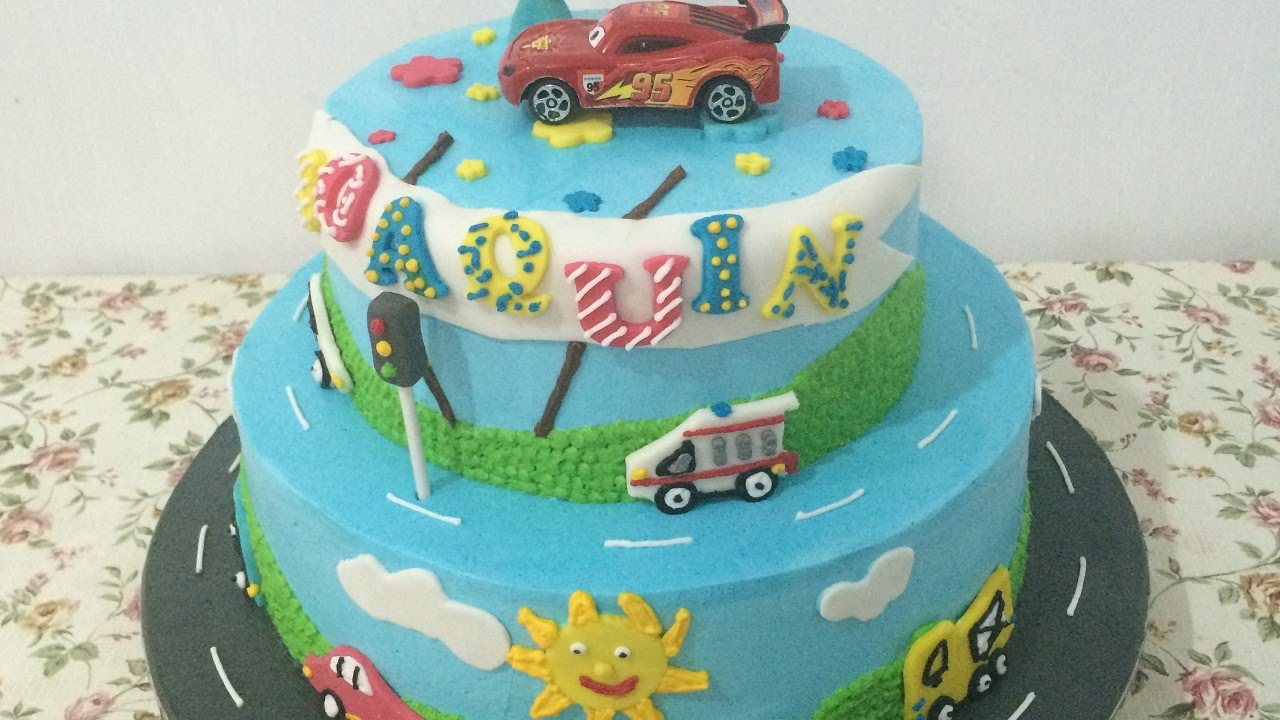 Car 2 Layers Cake Decorating Simple