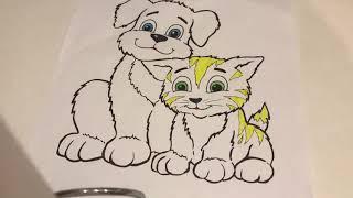 Раскраска. Собачка и кошечка/ Coloring. Dog and cat