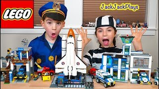 Lego City Police in Pretend Play Space Shuttle Heist + Costume Cops and Robbers Intro Skit