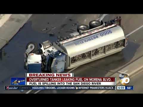 Overturned tanker leaking fuel on Morena Blvd.