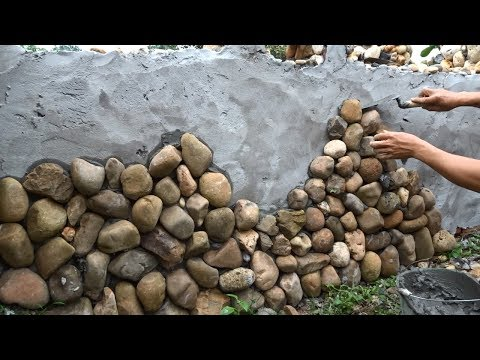 Creative Techniques Make Beautiful Walls By Using Natural Stones - Building Step By Step