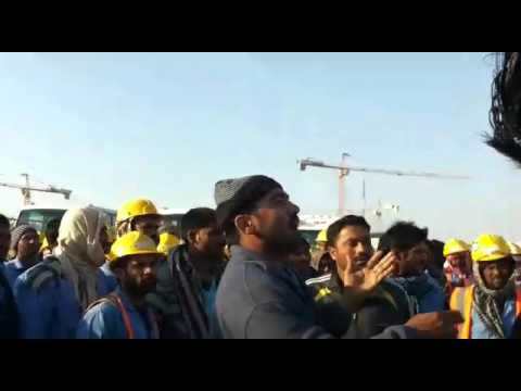 This is manazel construction company Saudi Arabia on strike labour for not pay payment for five mont
