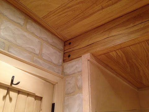 Faux woodgrain & stone master bathroom