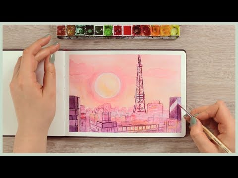 How To Paint A Sunset City Skyline With Watercolors | Art Journal Thursday Ep. 38