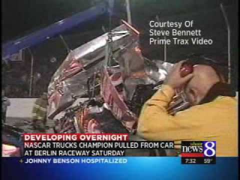 Johnny Benson crashes vehicle at Berlin Raceway