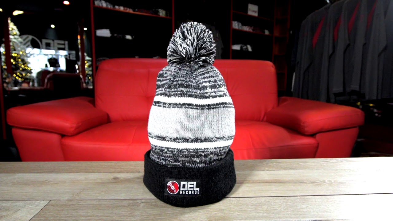 c127d9dc0f5 DEL Records Store - Woven Label Beanie with Poof - YouTube