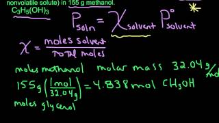 Calculating Vapor Pressure using Raoult's Law (nonvolatile solute) thumbnail