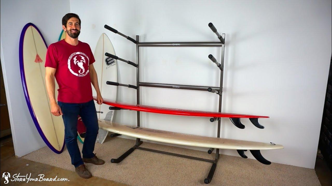 freestanding surf rack holds 5 surfboards storeyourboard