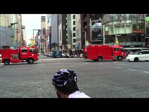 Tokyo Fire Department trucks in Ginza, Code 1. June 2015.