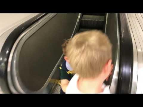 Noah And Eli On Escalators
