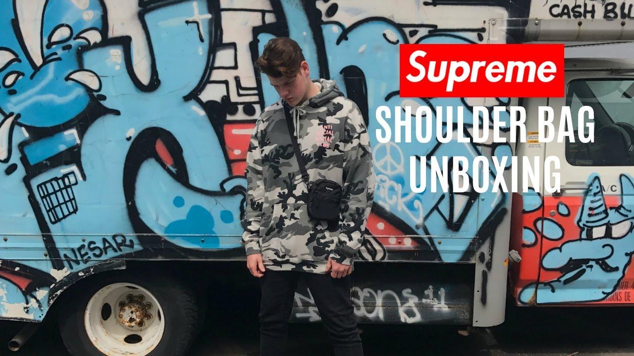 SUPREME SHOULDER BAG UNBOXING & ON BODY - YouTube