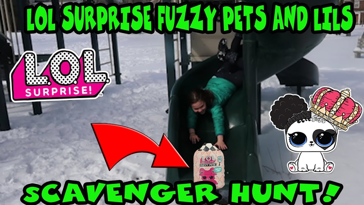LOL Surprise Fuzzy Pets And Lils Scavenger Hunt At The Playground!