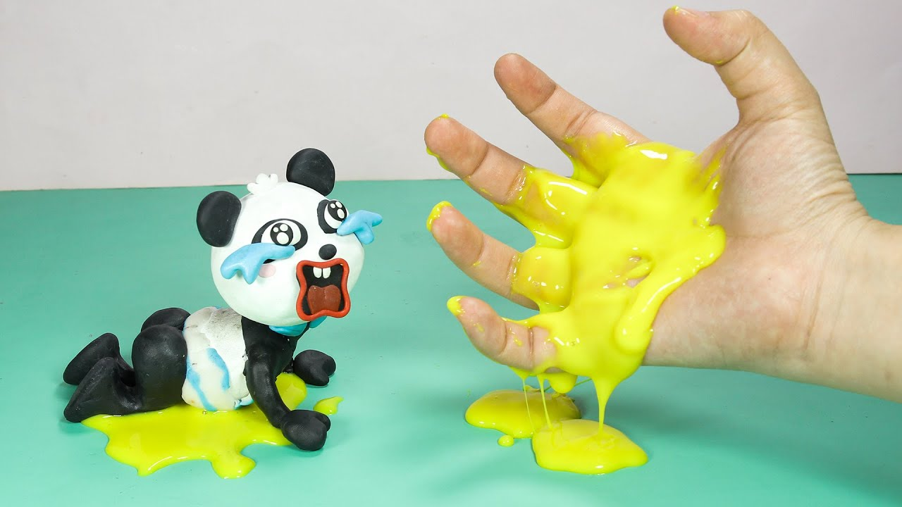 Baby Panda and Disgusting Diapers | Stop Motion Cooking ASMR