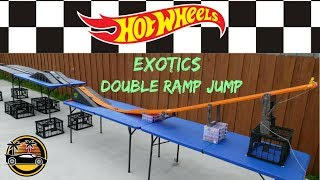 Hot Wheels fat track double ramp jump exotics cars tournament race