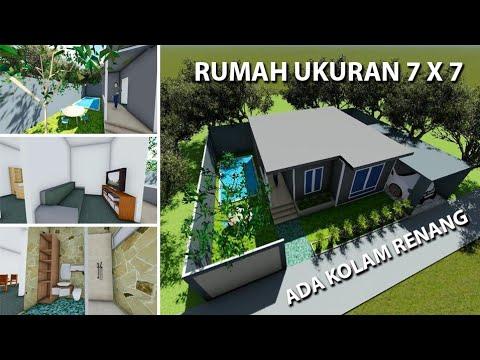 rumah minimalis | ukuran 7x7 2 lantai ada kolam renang