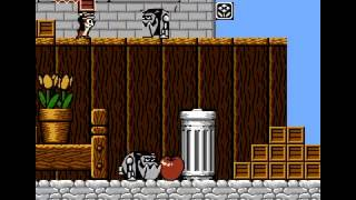 Chip 'n Dale Rescue Rangers Nintendo NES stage 1 gameplay
