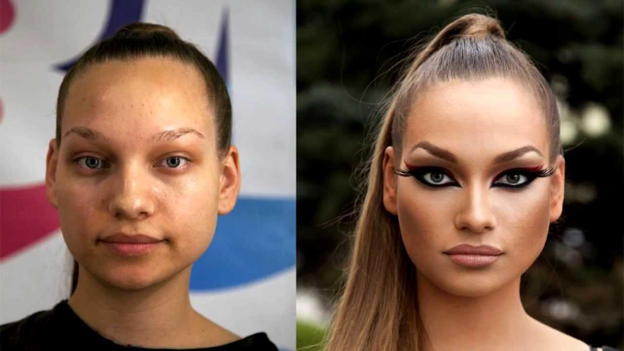 Прикол девушки с косметикой и без