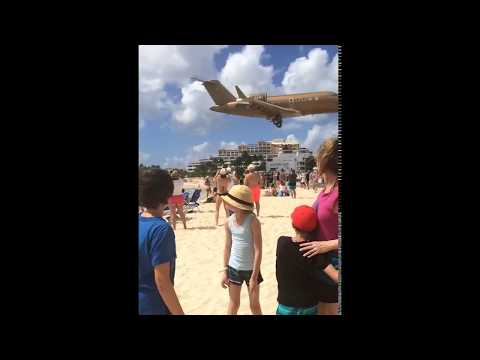 Private jet- Landing Maho Beach.  Princess Juliana airport