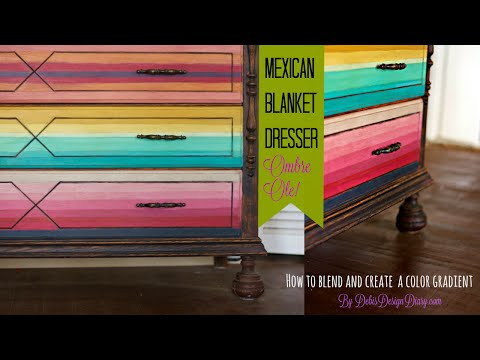 Furniture Flip, Ombre paint, blend color & the story of my 2 Dads!