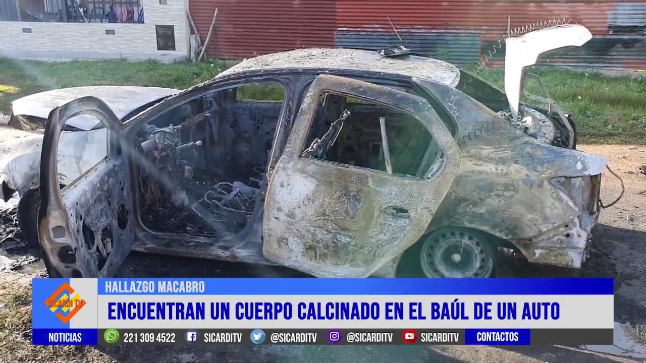 Hallan un cadáver en el baúl de un auto quemado