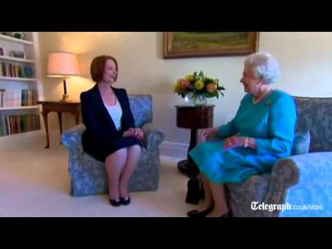 Royal tour of Australia: The Queen receives Prime Minister Julia Gillard - who still doesn't curtsy