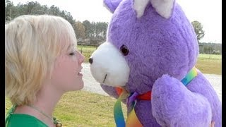 giant purple teddy bear 3 feet tall stuffed soft name imprinted on ribbon free made in us