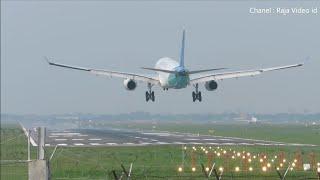 Garuda Indonesia Landing di Bandara Soekarno Hatta Jakarta, Airbus A330, Boeing 737 dan 777