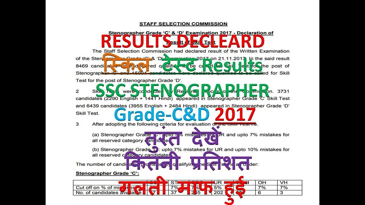 Results Declared SSC STENOGRAPHER Skill Test Results 2017 With