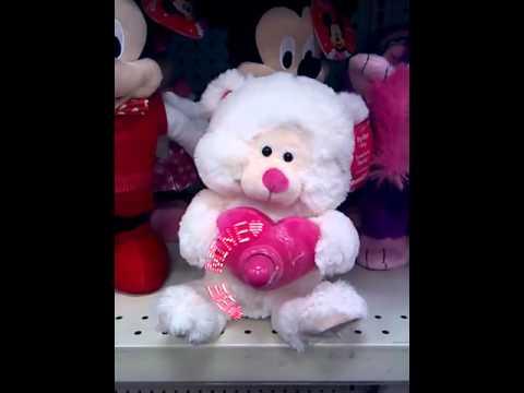 Sound N Light animated singing Valentine's day bear w/ fan