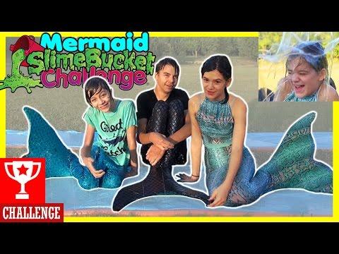 MERMAID SLIME BUCKET CHALLENGE! | Mermaid Slip n Slide with SLIME BAFF! |  KITTIESMAMA
