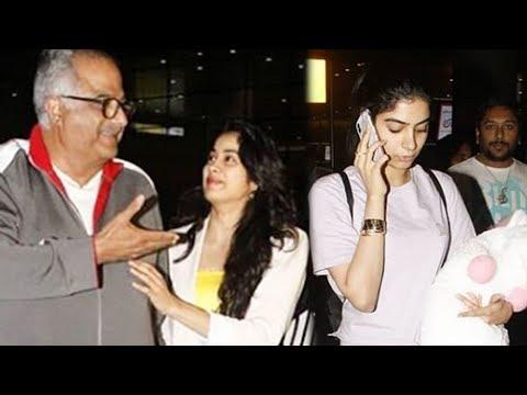Janhvi Kapoor Boney Kapoor Ignore Khushi Kapoor, spotted at Mumbai airport
