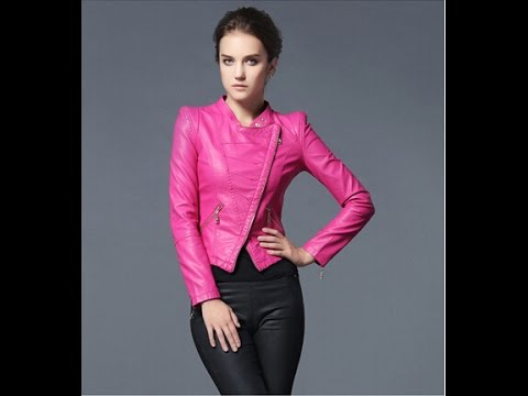 women pink leather jacket - YouTube