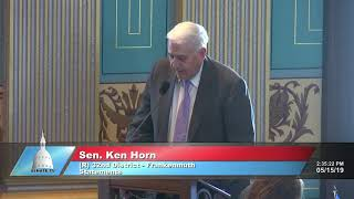Sen. Horn speaks on road funding in regards to the Michigan Senate's FY 2020 budget plan
