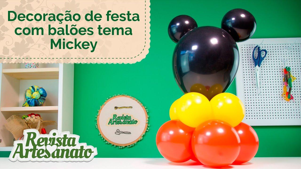 Decoraç u00e3o de Festa com Balões Tema Mickey YouTube -> Decoração De Festas Com Xícaras