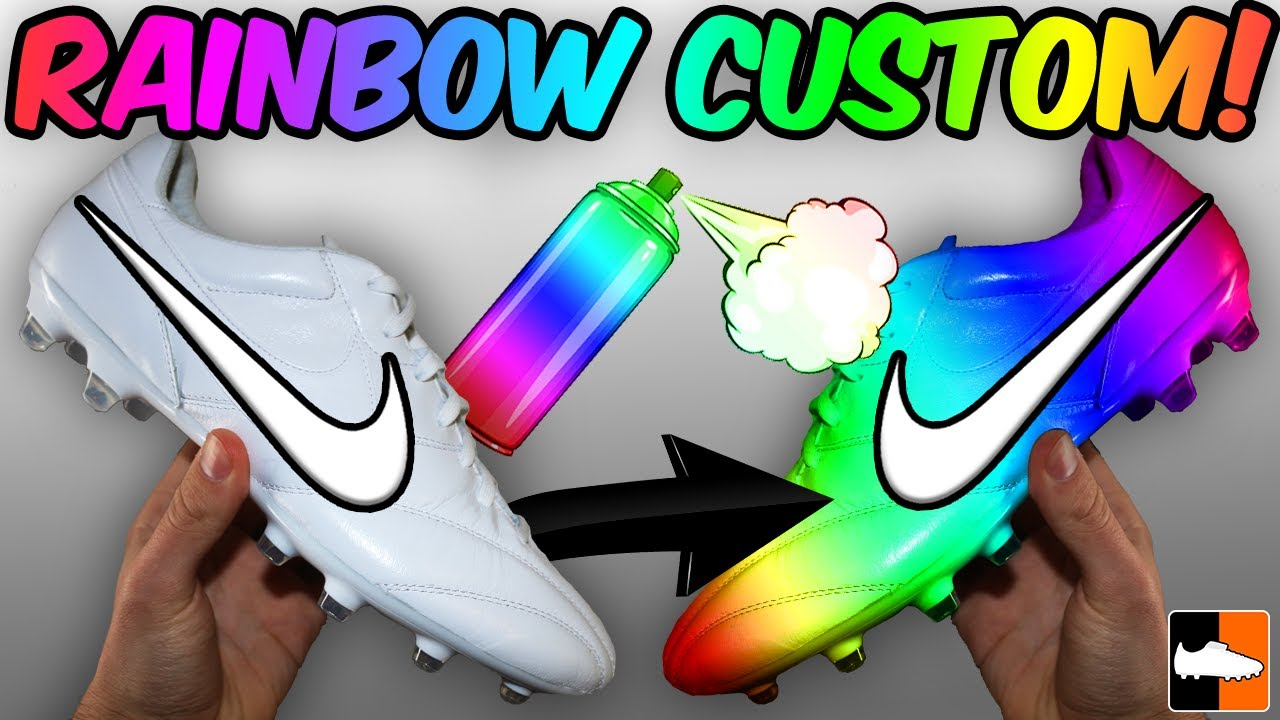 Unbelievable Rainbow Boots!! How To Customise Your Soccer Cleats! Football  Boots 83556598c4dd